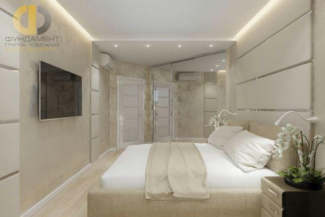 Дизайн монохромной бежевой спальни 15 кв. м. Фото