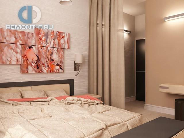 Современная спальня в двухкомнатной квартире на Осеннем бульваре