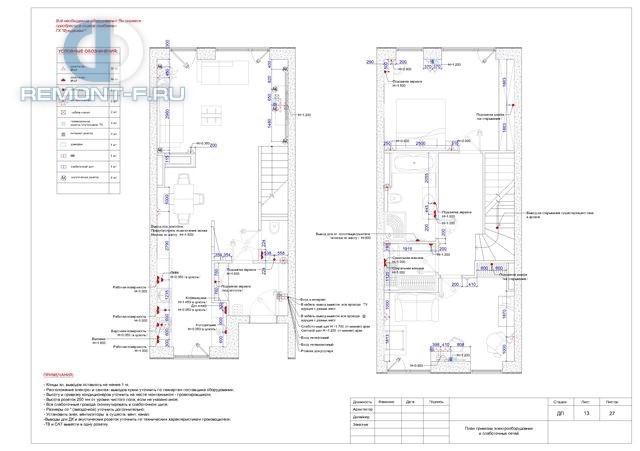 Рабочие чертежи дизайн-проекта дома 140 кв. м. План привязки электрооборудования и слаботочных сетей