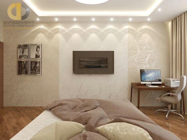 Современные идеи в дизайне спальни с обоями двух цветов. Фото 2016