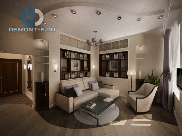 http://www.remont-f.ru/portfolio/project/411/Дизайн гостиной в однокомнатной квартире 40 кв. м. Фото интерьера