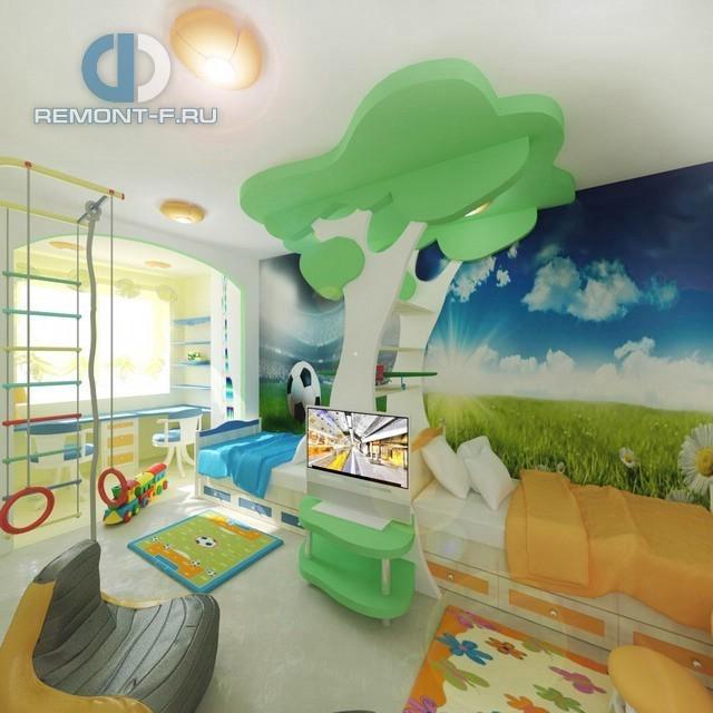 Идея дизайна детской 15 кв. м для двух мальчиков: фото 2017
