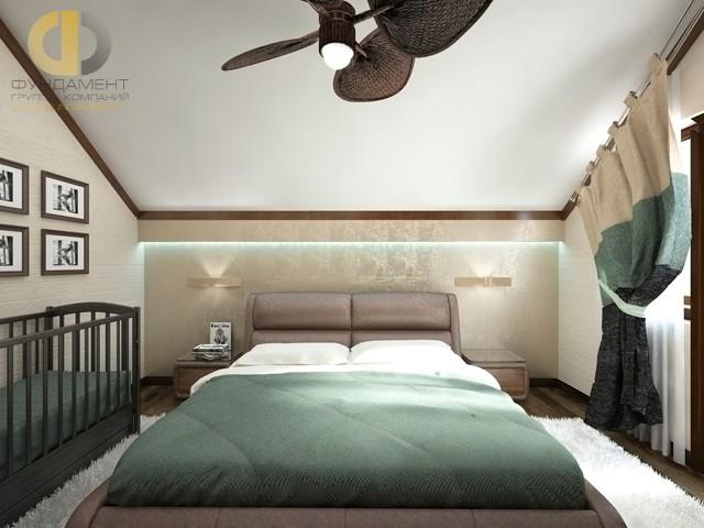 Дизайн спальни 12 кв. м с детской кроваткой. Фото интерьера в современном стиле
