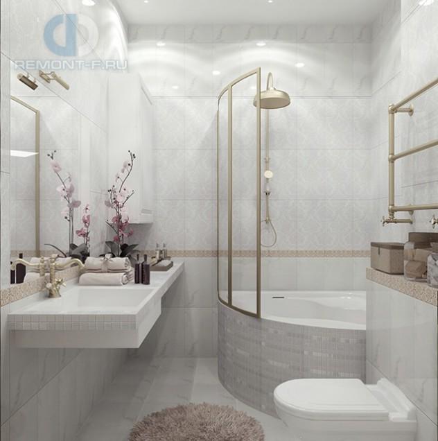 Дизайн ванной комнаты в четырехкомнатной квартире на ул. Лиственной