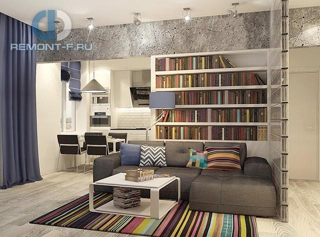 Дизайн кухни-гостиной в квартире в стиле лофт. Фото интерьера