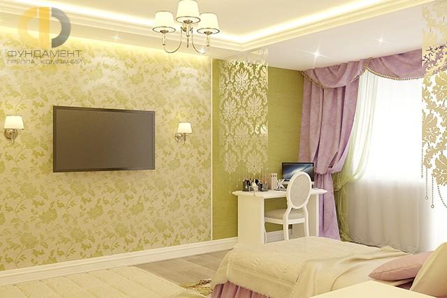 Дизайн детской комнаты для девочки. Фото интерьера с кабинетной зоной