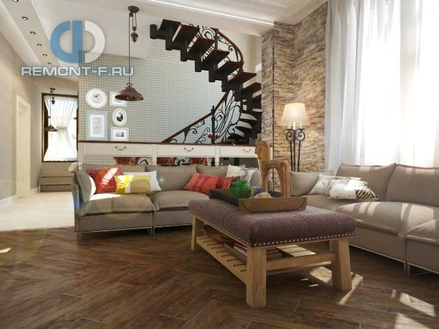 Современные идеи дизайна гостиной. Фото дома в Калужской области