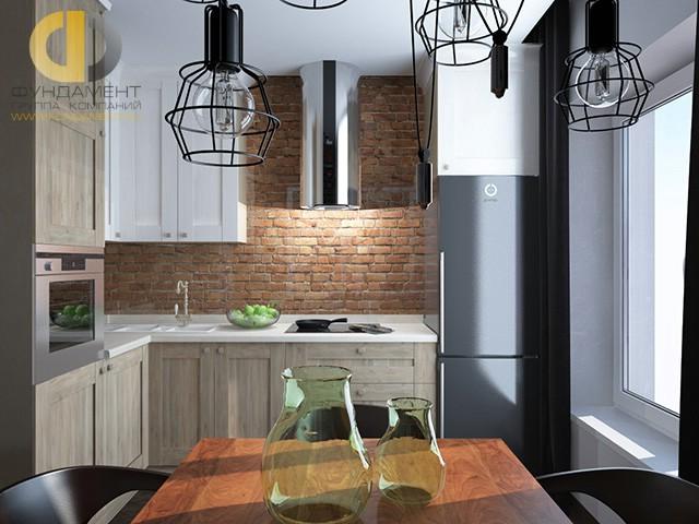 Кухня в стиле лофт с фартуком из декоративного кирпича
