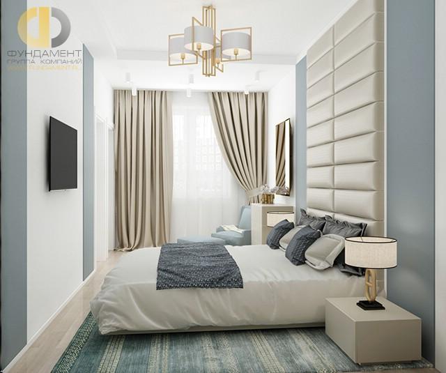 Дизайн спальни 15 кв. м в современном стиле с перегородкой. Фото