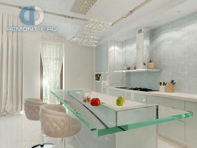 Белая кухня в стиле ар-деко в частном доме