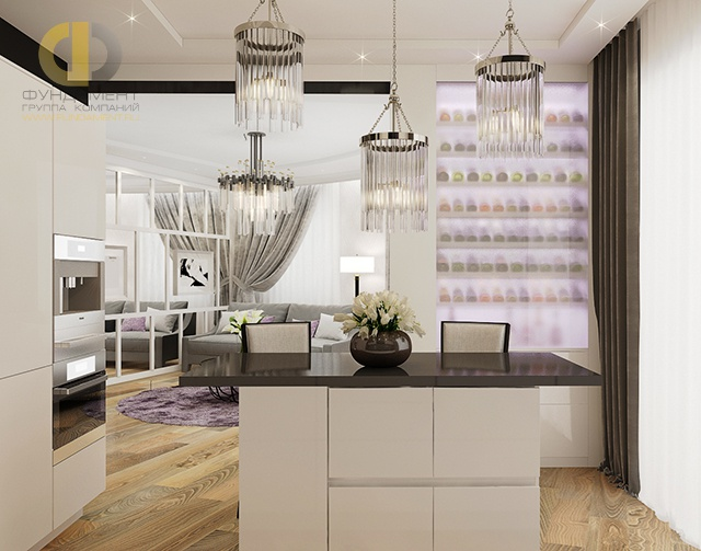 Дизайн кухни в четырехкомнатной квартире 124 кв.м в современном стиле. Фото интерьера