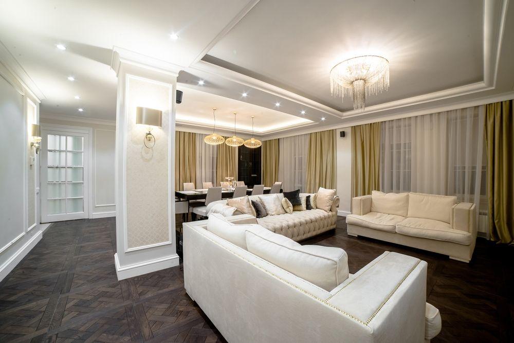 Интерьер гостиной после ремонта в квартире в стиле неоклассика