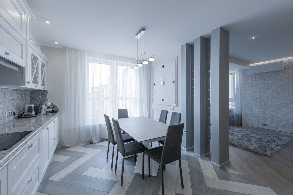 Интерьер кухни после ремонта в квартире в стиле буржуазный минимализм