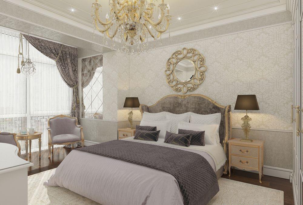 Интерьер спальни в квартире в стиле классицизм
