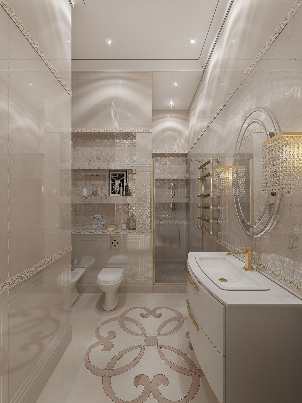 Интерьер ванной комнаты в квартире в стиле неоклассика