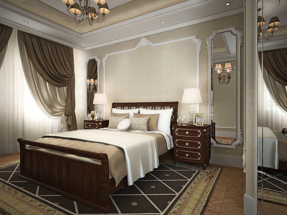 Интерьер спальни в квартире классическом стиле