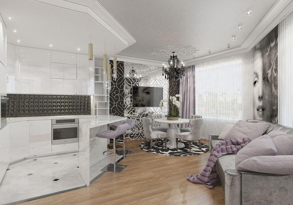 Интерьер гостиной в квартире в стиле ар-деко