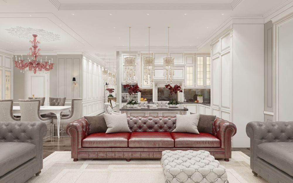 Интерьер гостиной в квартире в классическом стиле