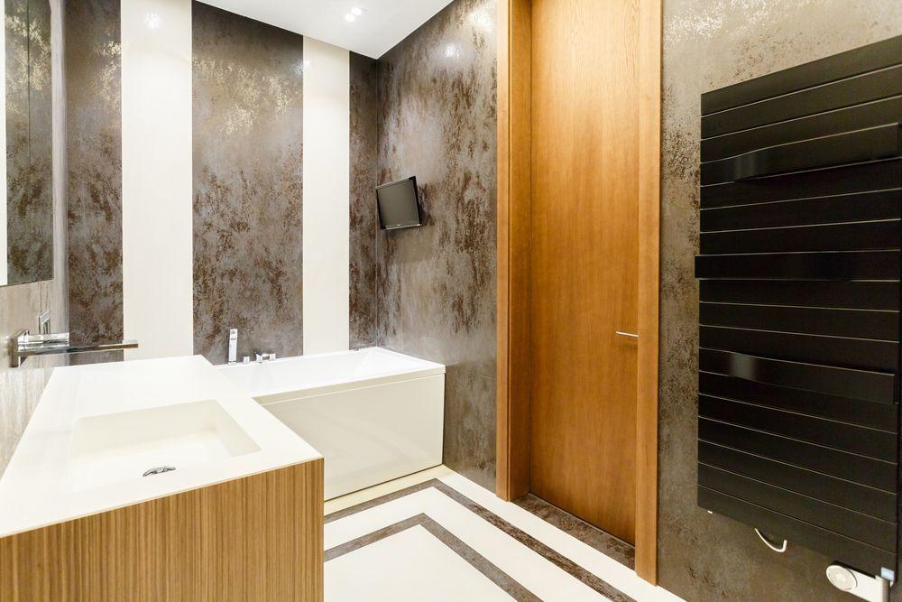 Интерьер ванной комнаты после ремонта в квартире в современном стиле