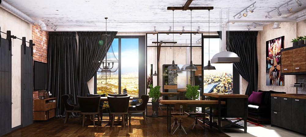 Интерьер гостиной в квартире в стиле лофт