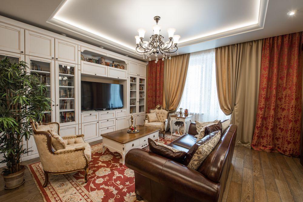 Интерьер гостиной после ремонта в квартире в стиле эклектика