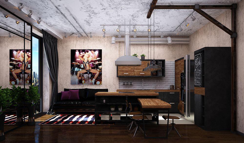 Лофтовая кухня в квартире в Москве