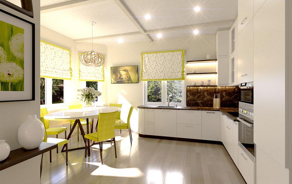 Интерьер кухни с эркером в современном стиле. Фото 2018