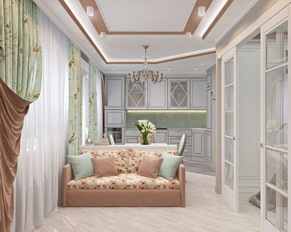 Кухня-гостиная двухкомнатной квартиры 43 кв. м