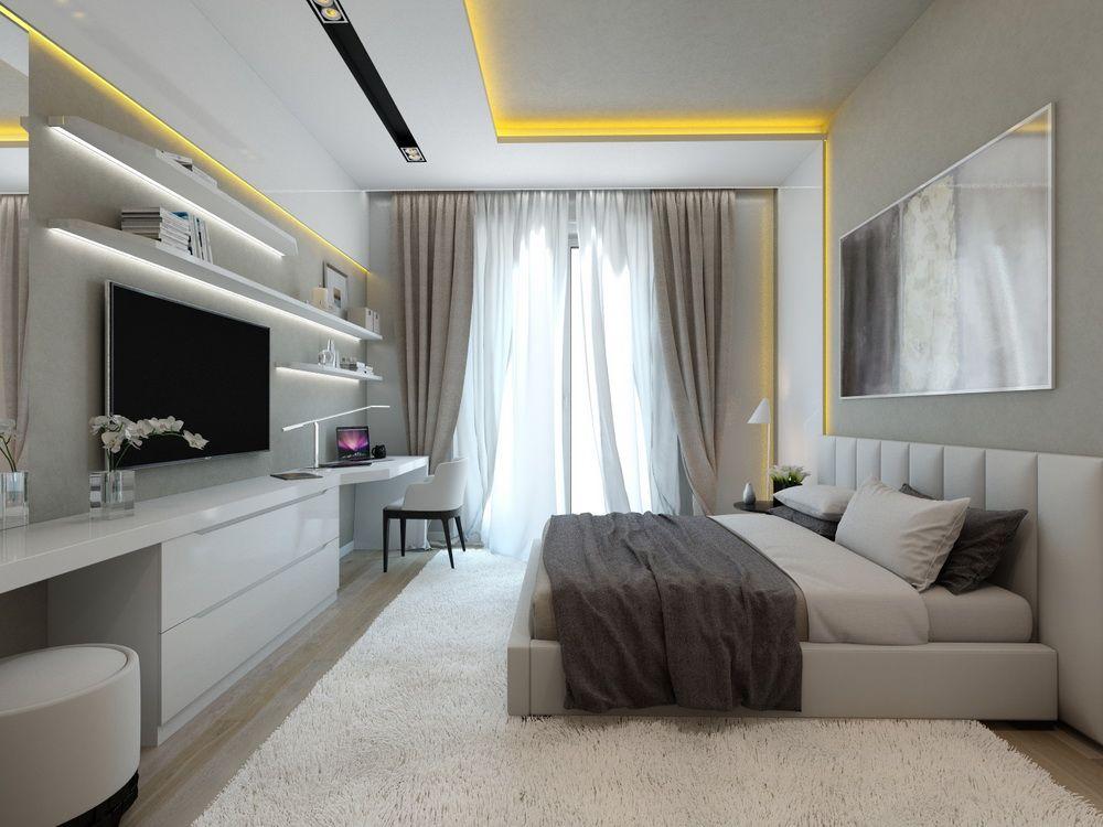 Интерьер спальни в квартире в стиле хай-тек