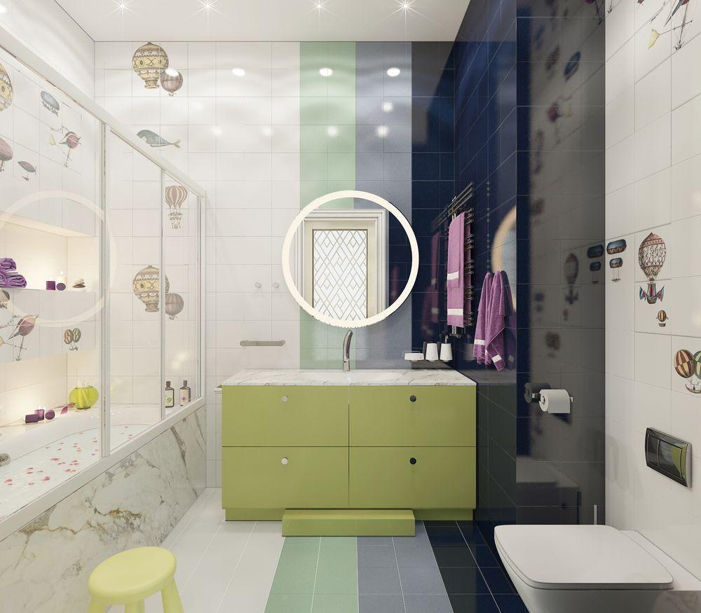 Интерьер ванной в квартире в стиле ар-деко