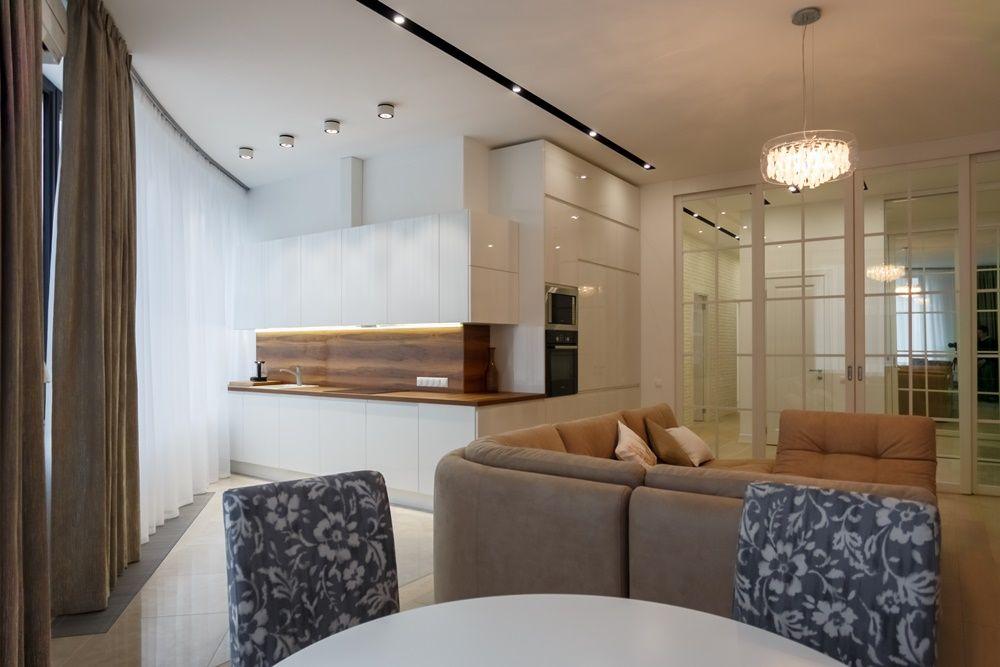 Кухня-гостиная после дизайнерского ремонта под ключ