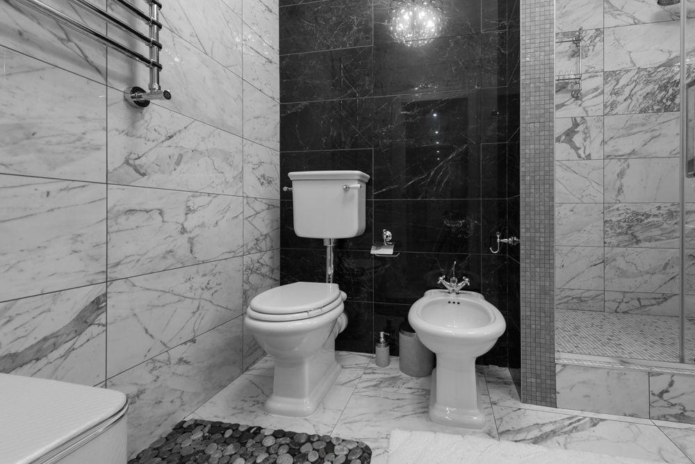 Черно-белый интерьер ванной комнаты с туалетом