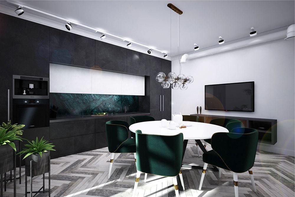 Интерьер кухни в квартире в стиле ар-деко