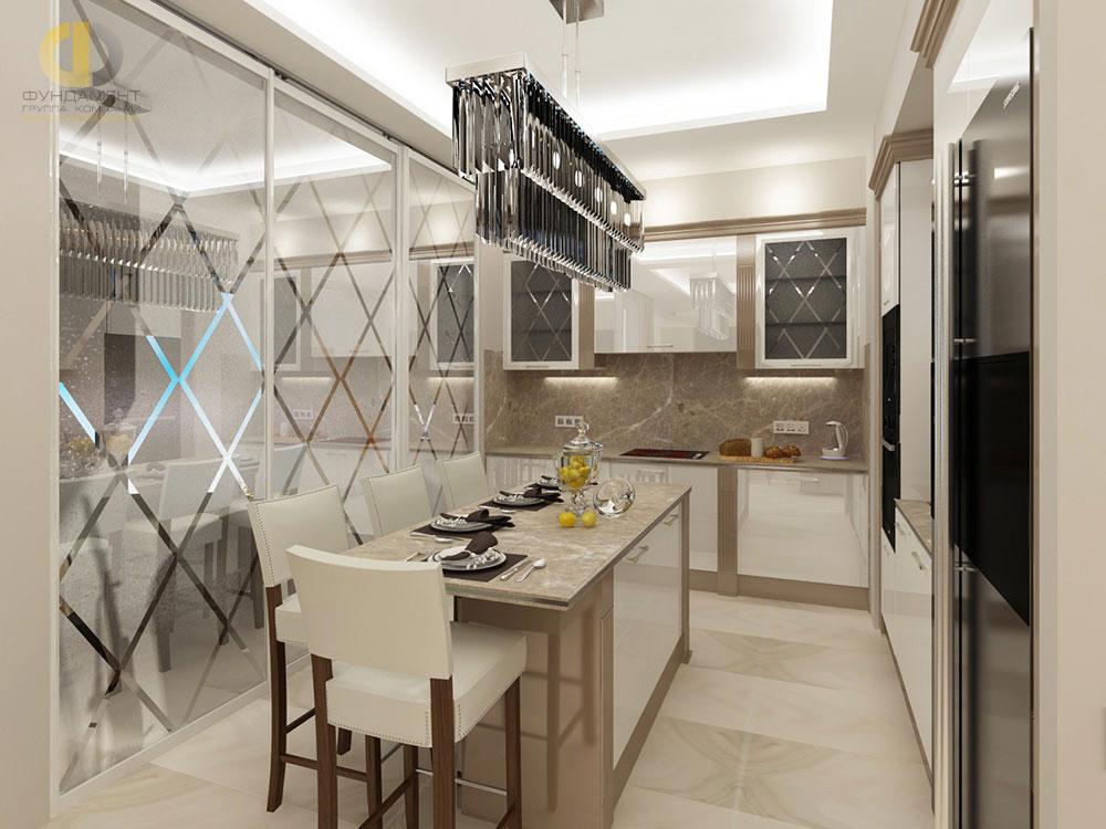 Современный дизайн кухни в бежевых тонах в ЖК «Форт Кутузов»
