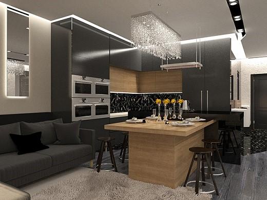 Дизайн кухни-столовой в стиле ар-деко в квартире. Фото интерьера