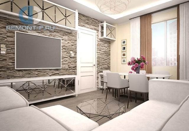 Гостиная с отделкой из природного камня в квартире на Балаклавском проспекте