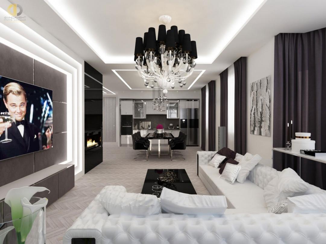 На фото: Дизайн гостиной в серых тонах в современном стиле