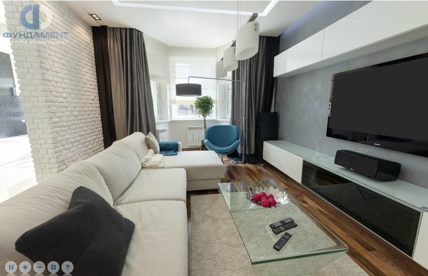 Интерьер гостиной с эркером в современном стиле. Фото 2018