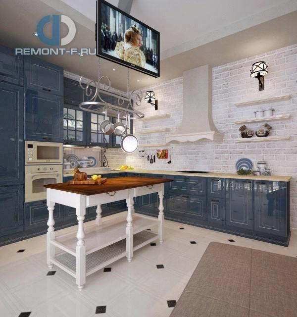 Кухня с синими фасадами в стиле прованс