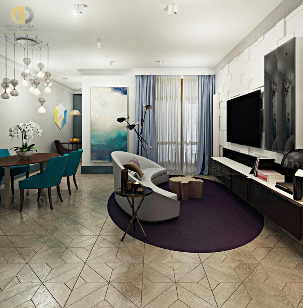 Интерьер гостиной комнаты в квартире в современном стиле. Фото 2018