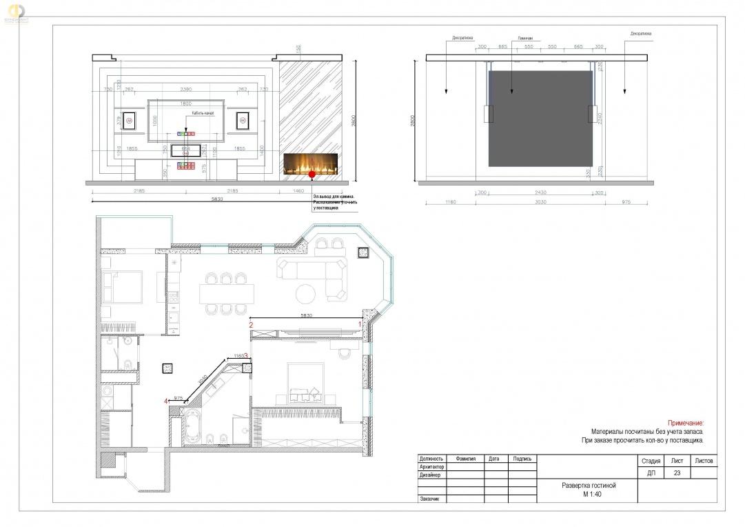 Дизайн-проект помещений квартиры в ЖК «Эдельвейс» - развертка гостиной