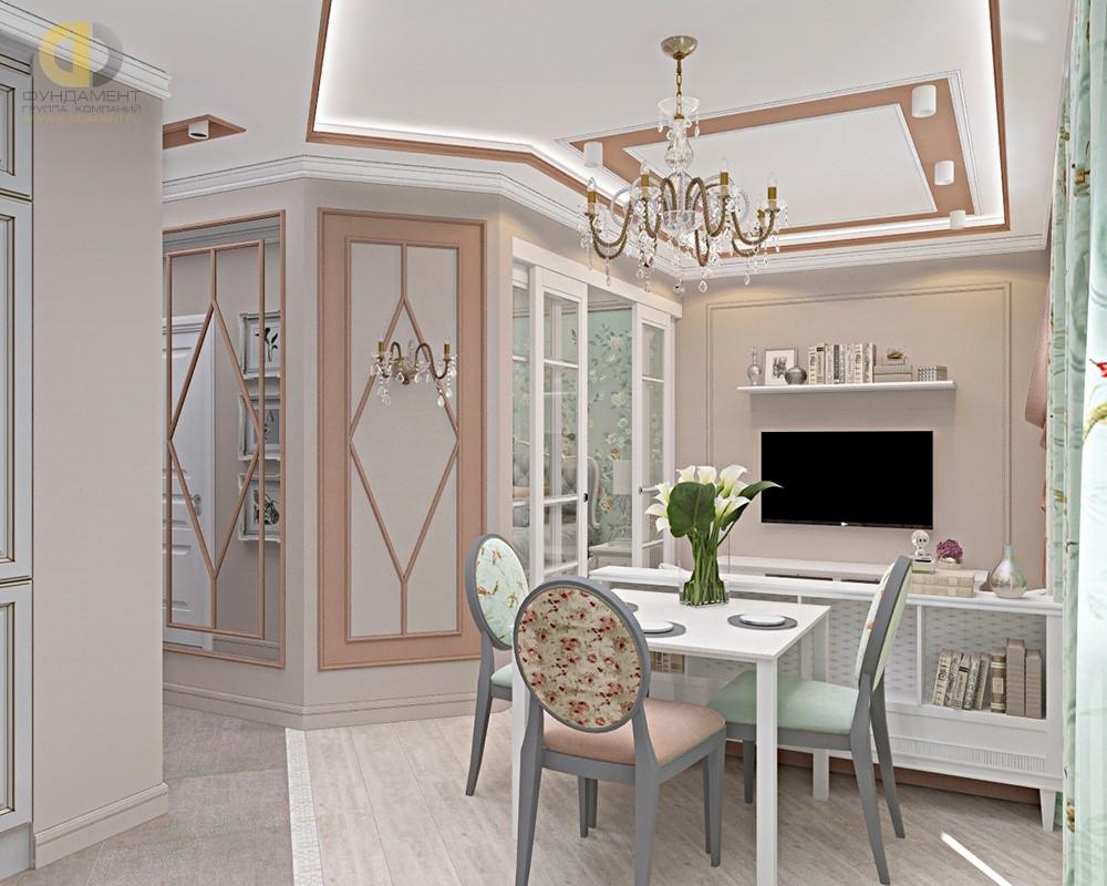 Интерьер квартиры с дизайнерским оформлением стен
