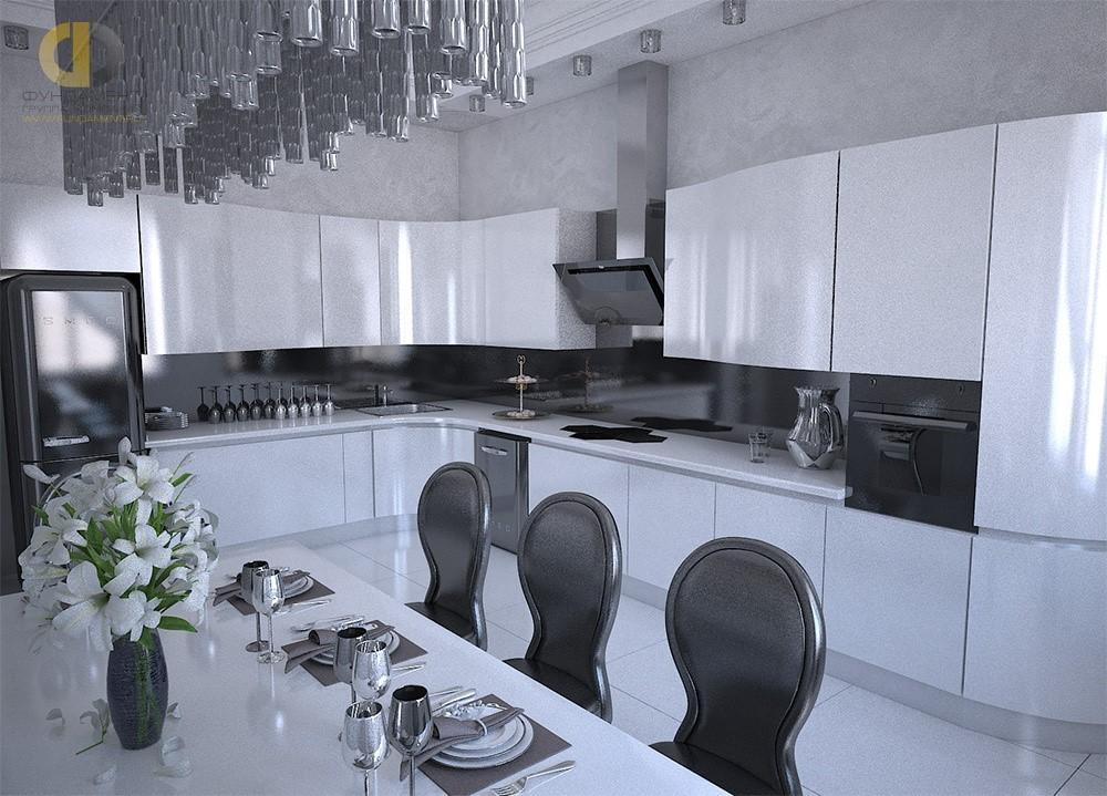 Дизайн кухни-столовой в загородном доме. Фото интерьера