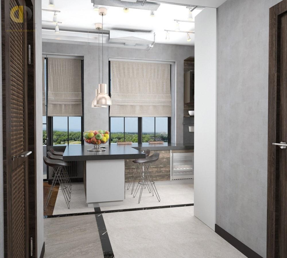 Дизайн кухни в стиле лофт с функциональной мебелью. Фото 2018