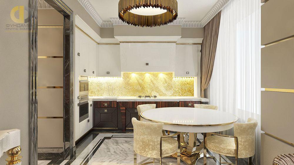 Дизайн кухни-столовой в стиле ар-деко
