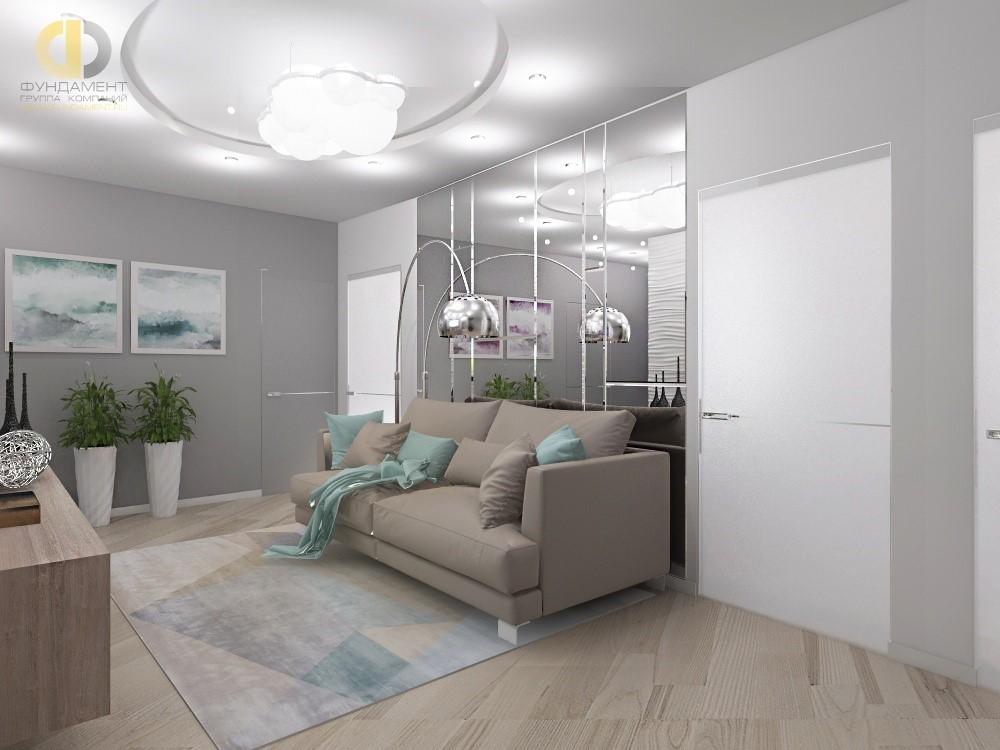 Бирюзовый текстиль в современном интерьере гостиной в ЖК «Подрезково»