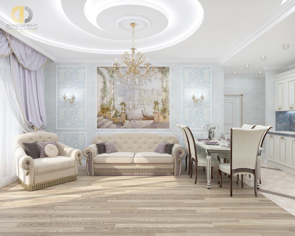 Классический интерьер гостиной с фреской в диванной зоне
