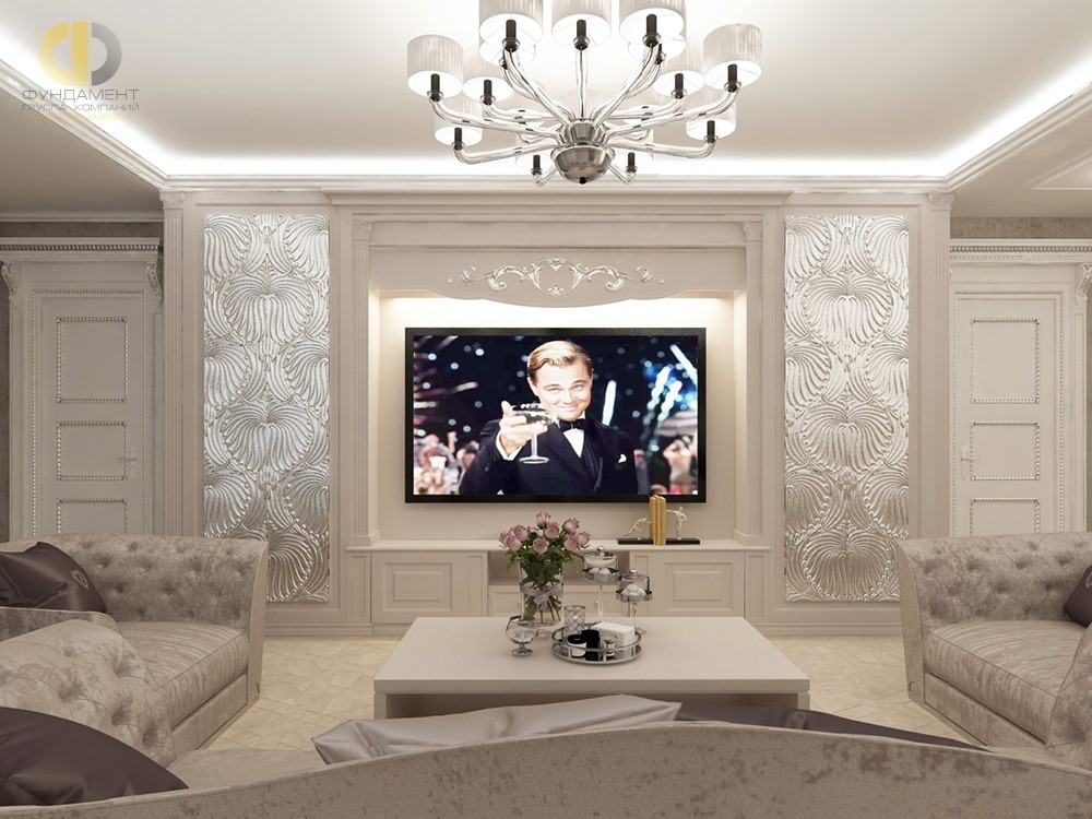 Интерьер гостиной с панелями серебряного цвета