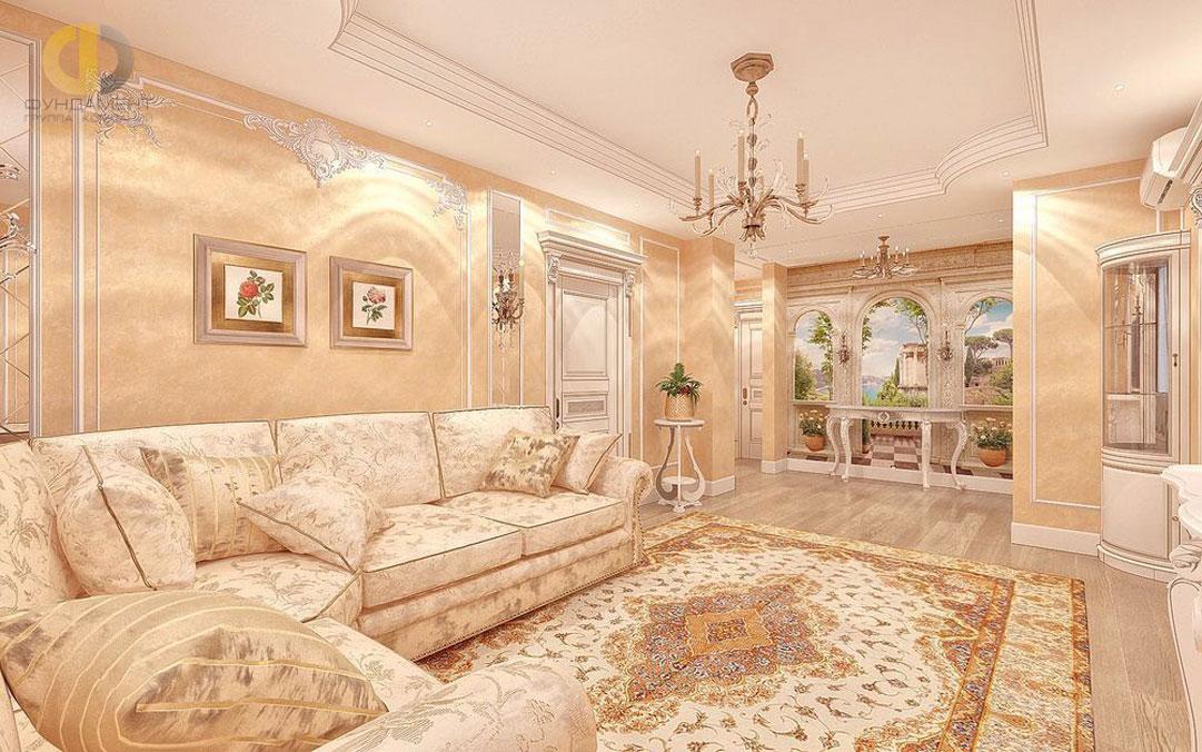 Интерьер гостиной комнаты в квартире в классическом стиле. Фото 2018