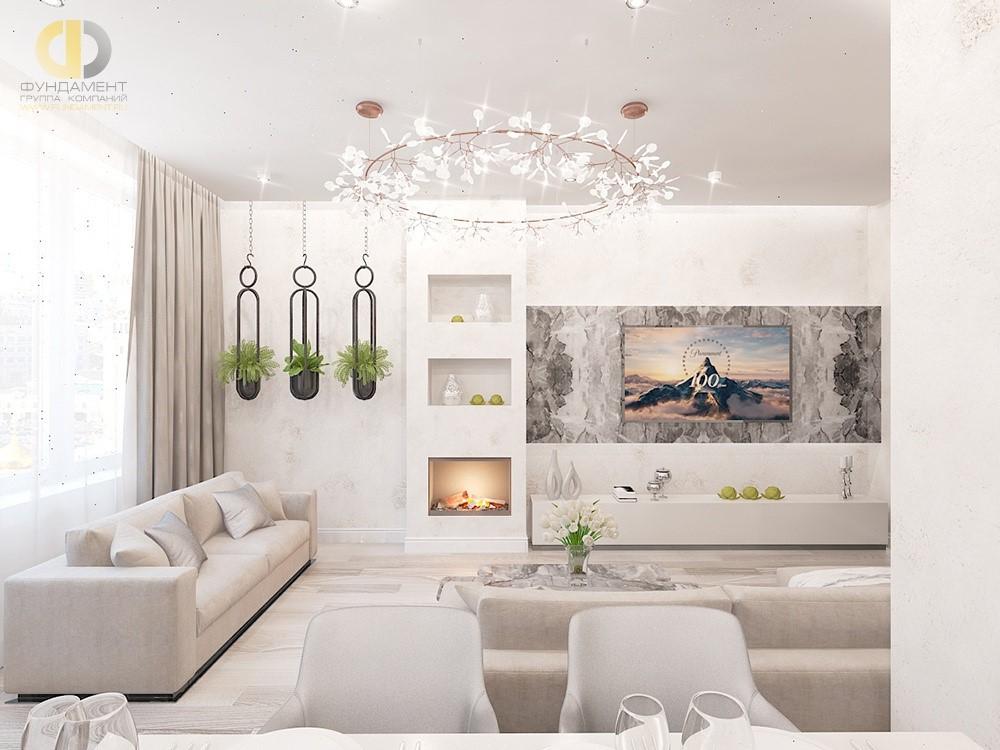 Белая гостиная в современном стиле. Проект 2018 года